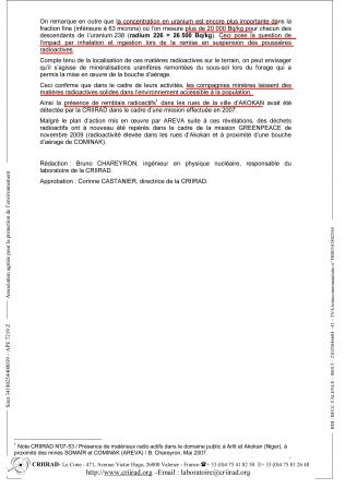 Rapport CRIIRAD 10-05  Niger Greenpeace Sol V1