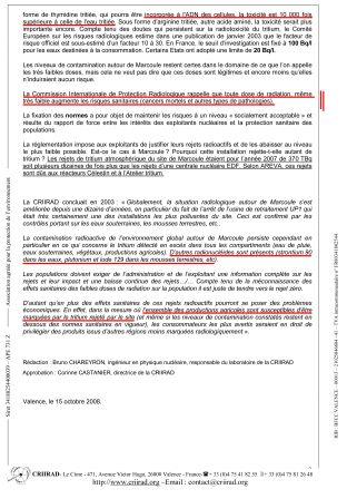 Note CRIIRAD N°08-159 Marcoule Tritium